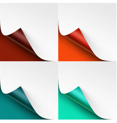 set of curled colored corners of paper with shadow vector image