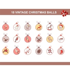 Set of different vintage Christmas decorations vector image