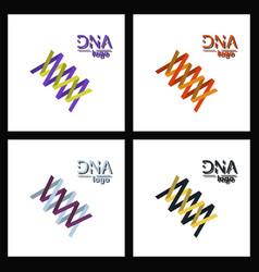Set of dna helix logo template genetics design vector