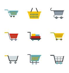 shop cart icon set flat style vector image