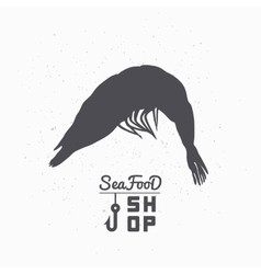 Shrimp silhouette Seafood shop branding template vector
