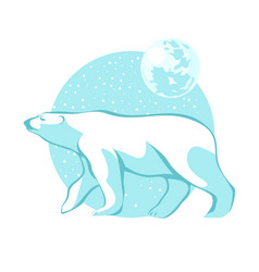 Silhouette of a polar bear against the blue sky vector