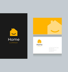 Smile-home-logo-with-business-card vector