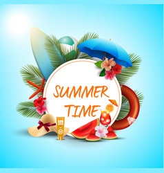 summer time banner design with white round vector image