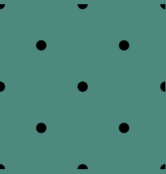 tile pattern with black polka dots on green vector image