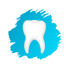 tooth symbol with blue blots vector image