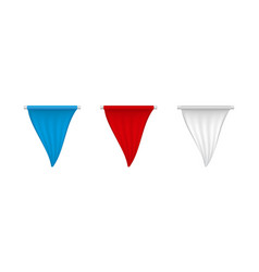 vertical white red blue blank pennant set vector image