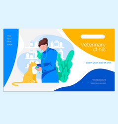 Veterinary clinic landing page template vector