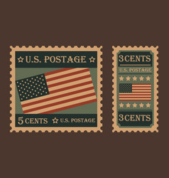 vintage retro united states postage stamps vector image