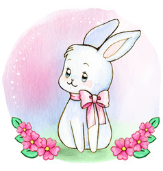 watercolor white baby bunny with pink bow vector image