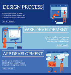 Web page design and development process on vector