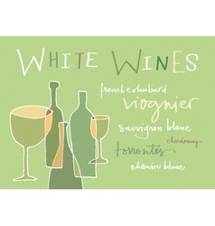 White wines varieties vector image