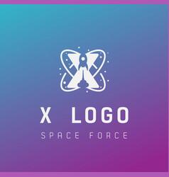 X initial space force logo design galaxy rocket vector