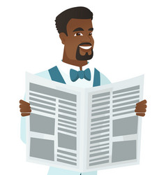Young african-american groom reading newspaper vector
