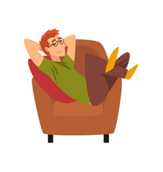 young man sitting on armchair and dreaming guy vector image
