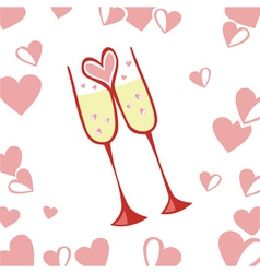 Glasses romantic background vector image vector image