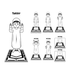Muslim Prayer Guide Takbir Position Outline vector image vector image