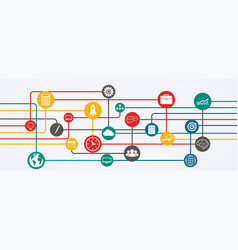 network connections information flow with icons vector image vector image