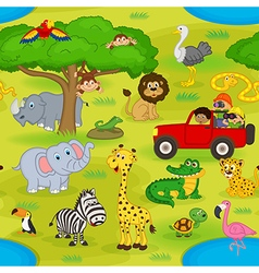 seamless pattern with animals in safari vector image vector image