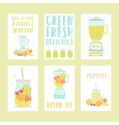 Set of six hand drawn smoothie card templates vector