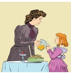 Aristocrat mother pouring her daughter a juice vector image