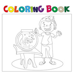 child looking at an aquarium coloring book vector image vector image