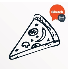 Hand drawn piece of pizza Sketched pizza slice vector image