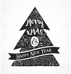 Chalkboard Vintage style Christmas Tree vector image vector image