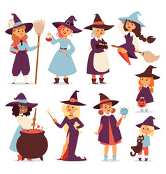 cute little witch with broom cartoon cat for print vector image