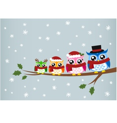owl family christmas greeting vector image vector image