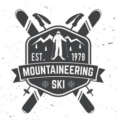 ski club concept with skier vector image vector image