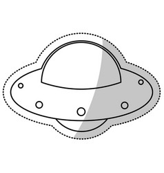 ufo spaceship fly image outline vector image vector image