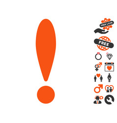 exclamation icon with dating bonus vector image