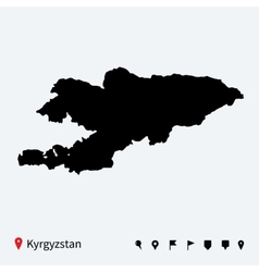 High detailed map of Kyrgyzstan with navigation vector image vector image