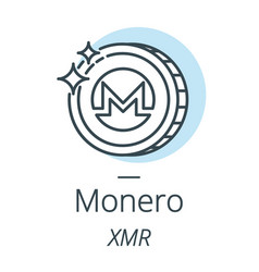 monero cryptocurrency coin line icon of virtual vector image vector image