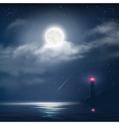 night cloudy sky with stars and moon vector image vector image