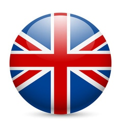 Round glossy icon of great britain vector image