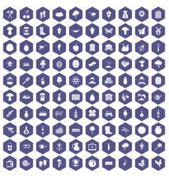 100 farming icons hexagon purple vector
