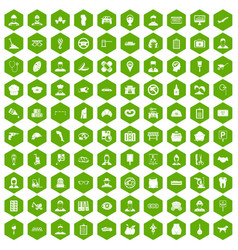 100 favorite work icons hexagon green vector image