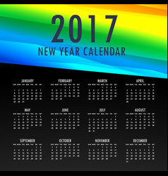 2017 calendar template with colorful shapes vector