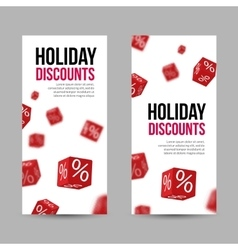 3D Discount Holiday SALE Red Box Banners for vector image