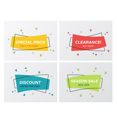 4 trendy flat sale pastel color rectangle stickers vector image
