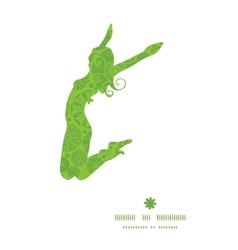 Abstract green and white circles jumping girl vector