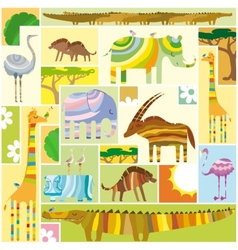 African Animals Tetris Collage vector image