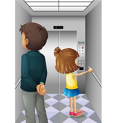 An elevator with a man and a young girl vector image