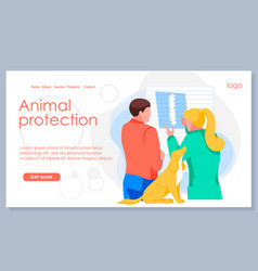 Animal protection landing page template vector