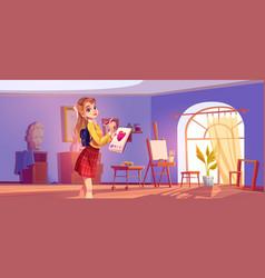 Art school cartoon banner artist girl at easel vector