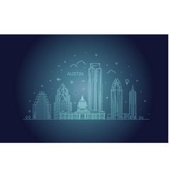 austin architecture line skyline vector image