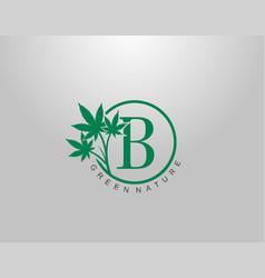 B letter logo circle nature cannabis leaf logo vector