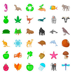 bio icons set cartoon style vector image